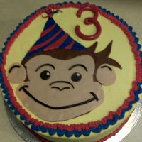 Curious George Looks more like a regular monkey, 10 inch, buttercream with fondant accents for my son's 3rd birthday