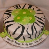 Zebra Bridal Shower 10 inch round, Chocolate and Vanilla Cake with vanilla bc and raspberry preserves. MoB saw my other zebra cake and wanted green flowers to...