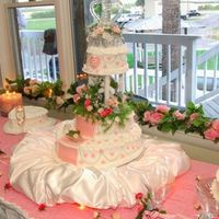 My Daughter's Wedding Cake This Cake was French Vanilla, iced with butter cream. It had fondant hearts and a fondant staircase with a glass slipper. The heart cakes...