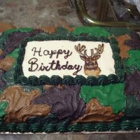Camo/deer Cake This was my first camo cake and my second FBCT. My mom drew the picture of the buck for me, but it's nose kinda got smooshed. This was...