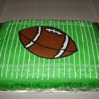 Football Cake First cake sold to a complete stranger. She requested a football cake, and this is what I come up with. I charged her $17.50, and she gave...