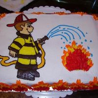 Firefighter Cake This cake was done for a customer. It almost turned into a disaster cake when my FBCT wouldn't pull off the waxed paper right. Then, I...