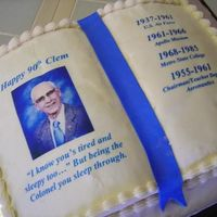 90Th Birthday!  This cake was made for a gentleman that was turning 90! As you can see from the dates and info on the book he was a very well accomplished...
