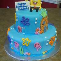 Spongebob Birthday Cake Two tiered fondant spongebob cake. Used a small rice krispy treat for Spongebob. Very pleased with the way it turned out and they loved it...