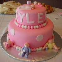 "Fondant Baby Shower Cake I made this cake for a cousin of my who was having a baby girl--""Rylee"".I spent about 5 days on it from start to finish. The..."
