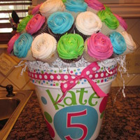 Kate's Cupcake Bouquet Another cupcake bouquet inspired by this little girl's favorite colors!