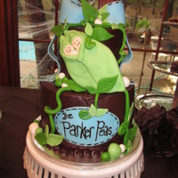 "Parker Peas This was a babyshower cake for a mother having twin boys. The inspiration for this cake was the invitation. The cake is a 9"" and a 6&..."