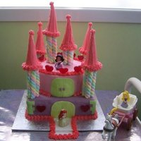 Princess Castle Princess castle birthday cake. Cakes covered in fondant and turrets made from marshmallow logs and ice cream cones covered in icing. Little...