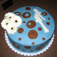Baby Boy Shower Cake I used the invitation as my inspiration on this cake. The mom-to-be wanted it to be blue with polka dots and she wanted white gerbera...