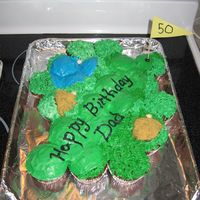 Golf Course Cupcake Cake MAde with cupcakes - put together and iced as one cake.