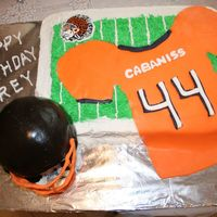Football Birthday Cake I made this cake for my nephew's birthday. He plays football for the youth organization in town. The helmet is a the small ball cake...