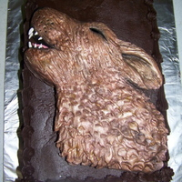 Wolf Cake I helped my friend make her daughter's birthday cake. She iced the cake and I made the wolf.