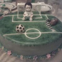 Soocer Boy On Goal FONDANT COVERED CAKE, GUMPASTE FIGURES, ROYAL ICING GOAL