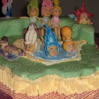 Trollz fondant covered cake with gumpaste figures