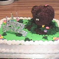 "Gound Hog Cake My little girl was born on Groundhog's day and wanted a ground hog birthday cake this year! The ""hog"" has dirt on his nose..."