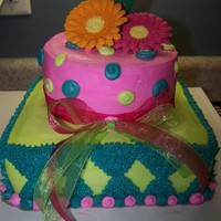 Gerber Daisy Cake this cake was fun with all the colors and shapes!!