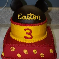 Disney Ears Cake cake is yellow cake, butter cream frosting with the chocolate fondant for the hat/ears