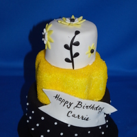 Yellow & Black Tiered Cake Mini 3 tiered cake for a birthday