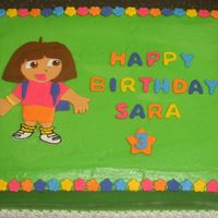 Dora This cake is iced in b/c, with fondant accents for my friend's daughter.