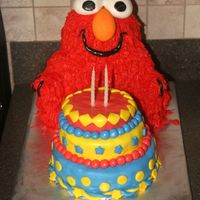 Elmo This is a 3D elmo cake I made for my son's second b-day. Used panda pan, grass tip with b/c icing, and fondant features. Elmo's b...
