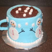 "Cup Of Cocoa I made this from (3) 6"" cakes, covered in fondant, with fondant accents. Thanks to KIMMY37 for her wonderful design!!"