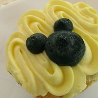 Mickey Mousse Cupcake Blueberry cupcake with cream cheese frosting