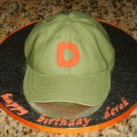 "Baseball Cap carved from two 8"" rounds, followed instructions from confetti cakes book. thanks for looking!"
