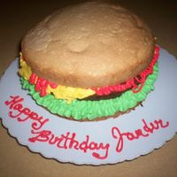 "Jander's Cheesburger,ketchup Only Grandson #3, loves Cheeseburgers also, so this cake went with his cousins.The party was a joint one , so I made a 8"" round, Poundcake&..."