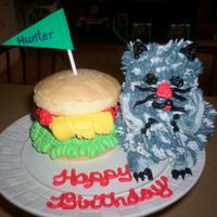 "Hunter's Cat W/ Cheeseburger,ketchup Only Grandson #4 wanted A Cat and Cheeseburger cake, I used the mini bear,poundcake w/buttercream, and the Cheeseburger was a 4"" poundcake&..."