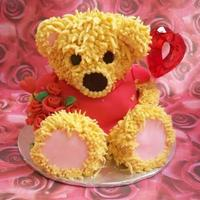 Valentine's Teddy Chocolate cake with buttercream icing & fondant.
