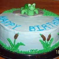 "Turtle Cake  A cake I made for a friend, turtle and ""rock"" made of MMF, the rest in BC. Chocolate cake. Thanks To Everyone for the Inspiration..."