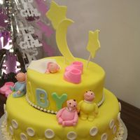 Jjv_Baby_Cake.jpg Baby Shower fondant cake. All toppings and babies are fondant and edible except for the little shoes on top.