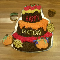 Autumn Birthday Joint birthday cake for me and my brother. Wilton topsy-turvy pan and decorated sugar cookies. I like this pan because it's got the...