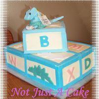 Dino On Blocks This is a choc. cake with choc. mousse filling decorated with Fondant and SMBC.