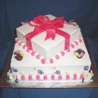 "2_Tier_Present_Cake_Resized.jpg 2 tiered b-day cake. Sizes 8"" and 12"". Decorated in fondant and buttercream icing. This was my first attemp to make a cake look..."