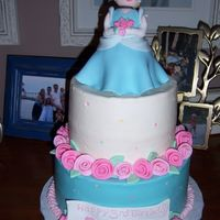 Cinderella Cake Made for a friends daughters birthday. I was going for a little girl version of cinderella. Buttercream with fondant figure (made over mini...