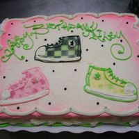 High Top Tennis Shoes   all buttercream and airbrush
