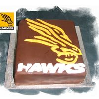 Hawthorn Football Club Afl Rushed cake for hubby's birthday, this is the logo of the team he supportsMud cake covered in chocolate fondant with fondant raised...