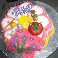 Sewing Theme Birthday Cake i made this for a girl whos hobby is sewing and loves pink purple and flowers