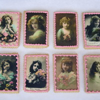 Victorian Girls   Vintage edible images on sugar cookies, with RI border. I made these as a gift to a friend who just had a baby girl.