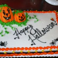 Happy Halloween! 1/2 sheet white cake with buttercream frosting.
