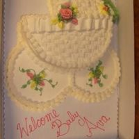 Welcome Baby... Full sheet white cake, butter cream frosting. Main carriage body double-layered.