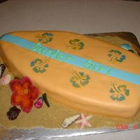 Surfboard Cake Strawberry and Butter cake with strawberry filling. All fondant.