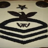 Navy Senior Chief Carrot cake with cream cheese frosting done for a friend that made Senior Chief. The Fire Control emblem and eagle were done as a chocolate...