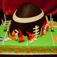 Super Bowl Xli We used the Wilton Football pan; cut the cake in half to create a half size 3-D Football bursting out of the field in a halftime show...