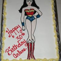 Wonder Woman Well not the best looking Wonder Woman but I guess it could have been worse! I absolutely hate doing faces! Straberry cake with strawberry...