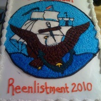 Us Navy Reenlistment Cake taken with with phone again so not a great pic.....did this for a guy I work with who was reenlisting in the navy, the anchor was suppose...