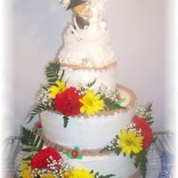Wedding Cake Country Style This Wedding cake was white 12 in, choc 10 in ,and white 6 in with butercream and choc buttercream borders and then the fresh flowers the...