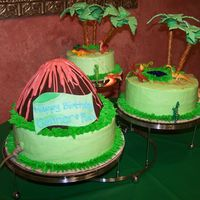 Dinosaur Cake  This cake was for a dinosaur themed children's party. I adapted a theme cake from the Wilton 2006 yearbook (Jungle Cake) and added the...