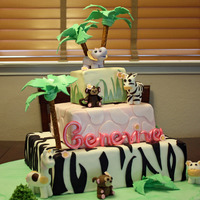 Baby G  This cake was for a baby shower. The animals and the cake patterns were copied from the crib set the mom picked out. Cakes were all MMF and...